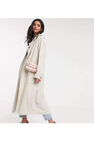 ASOS ASOS DESIGN Tall – Luxuriöser Oversize-Trenchcoat aus Leinen, in Creme