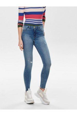 Only High-waist-Jeans »ONLPAOLA« mit leichten Destroyed Effekten