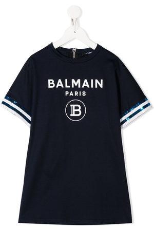 Balmain T-Shirtkleid mit Logo-Print