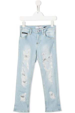 Philipp Plein Gerade Distressed-Jeans