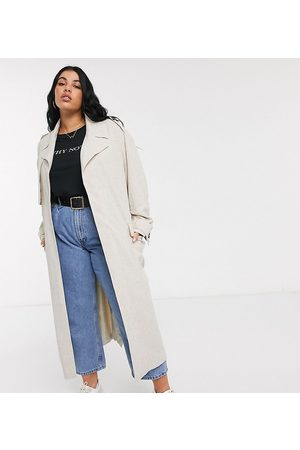 ASOS ASOS DESIGN Curve – Luxe – Übergroßer Trenchcoat in Leinen-Optik in Creme