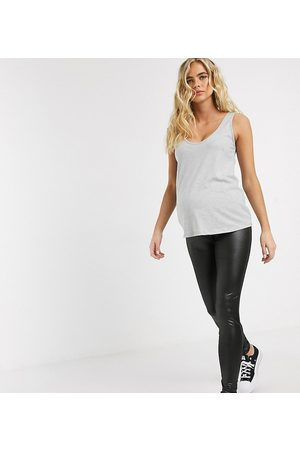Mama Licious Mamalicious Maternity – Leggings im Wet-Look in