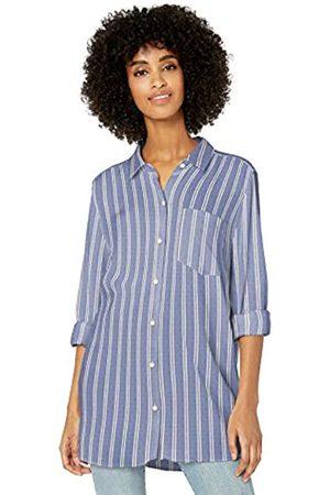 Goodthreads Modal Twill Long-Sleeve Button-Front dress-shirts, Blue/White Double Bar Stripe