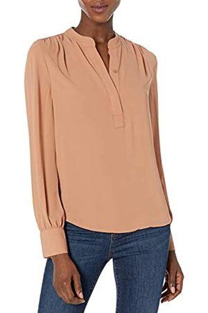 Lark & Ro Long Sleeve Band Collar Gathered Detail Blouse dress-shirts, Mocha Mousse