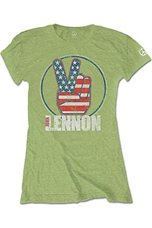 John Lennon Damen Peace Fingers Us Flag T-Shirt