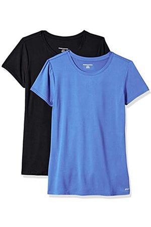 Amazon 2-Pack Tech Stretch Short-Sleeve Crew T Athletic-Shirts, Bright Blue/Black