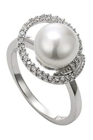 ADRIANA Damen-Ring Süßwasser Zuchtperlen 925 Sterling Silber Gr. 58 (18.5) A6-Gr.58