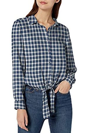 Goodthreads Modal Twill Tie-Front dress-shirts, Blue/Off-white Plaid