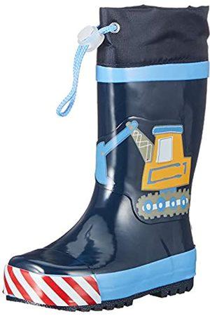 Playshoes Kinder Gummistiefel aus Naturkautschuk, trendige Unisex Regenstiefel mit Reflektoren, mit Bagger-Motiv, (Bleu 17)