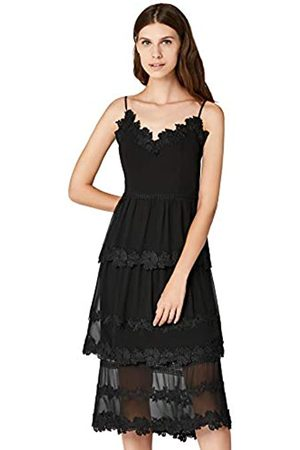 TRUTH & FABLE Amazon-Marke: Damen Midi Chiffon Kleid mit Blumenstickerei, 34