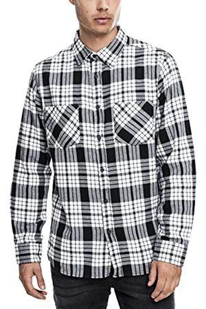 Urban classics Herren Langarmshirt Hemd Checked Flanell Shirt 2 mehrfarbig (Wht/Blk) Large