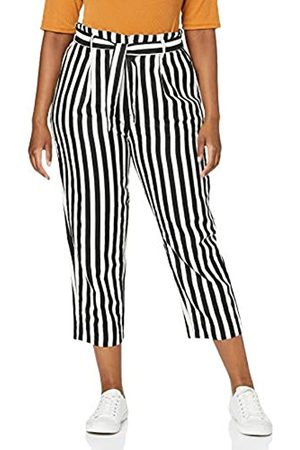Herrlicher Damen Comfy Black and Linen Stripes Hose