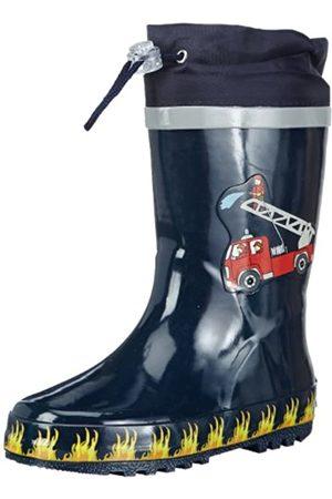Playshoes Kinder Gummistiefel aus Naturkautschuk, trendige Unisex Regenstiefel mit Reflektoren, mit Feuerwehr-Motiv, (original 900)