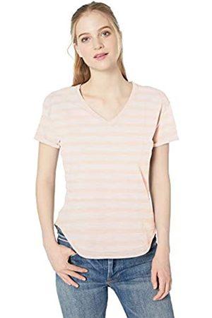 Daily Ritual Amazon-Marke: Damen-Kleid mit V-Ausschnitt und Rollärmeln aus Lived-In Baumwolle, Pink Stripe