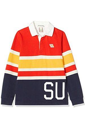Scotch&Soda Shrunk Jungen Yarn Dyed Stripe Long Sleeve Polo with Woven Collar Poloshirt