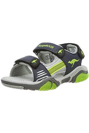 KangaROOS Unisex-Kinder Sandalshine Sneaker, (Dk Navy/Lime 4054)