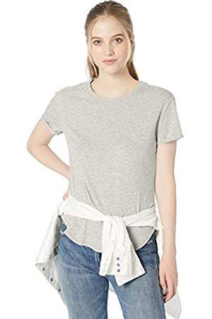 Daily Ritual Amazon-Marke: Damen-Kleid mit Rundhalsausschnitt und Rollärmeln aus Lived-In Baumwolle, Light Grey Heather