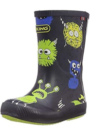 Viking Unisex-Kinder Classic Indie Monsters Gummistiefel, (Navy/Lime 588)