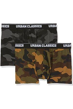 Urban classics Herren 2-Pack Camo Boxer Shorts Boxershorts,, per pack Mehrfarbig (woodcamo + darkcamo 01362)