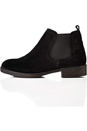 FIND Casual Suede Chelsea Boots, Black)