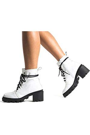 L'INTERVALLE Damen Holo Combat Boots, (White Naplack 0024)
