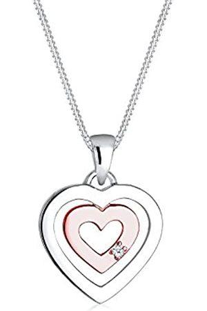 Elli Diamore Damen Halskette Herz Bi-Color Anhänger verspielt mit Diamant (0.02 ct.) in 925 Sterling Silber rosé vergoldet