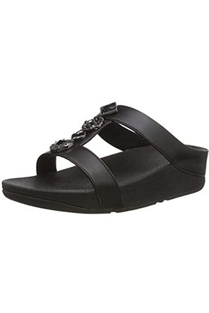 FitFlop Damen Fino H Bar Slide - Textured Circles Sandalen, (Black 001)