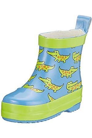 Playshoes Kinder Halbschaft-Gummistiefel aus Naturkautschuk, trendige Unisex Regenstiefel mit Reflektoren, mit Krokodil-Muster