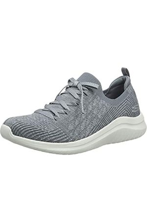 Skechers Women's Ultra Flex 2.0-Flash Illusion Trainers, Grey (Gray Knit Mesh/White Trim Gry)