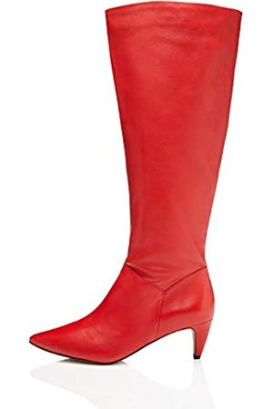 FIND Damen Slouch Boot Schlupfstiefel, (Red Red)