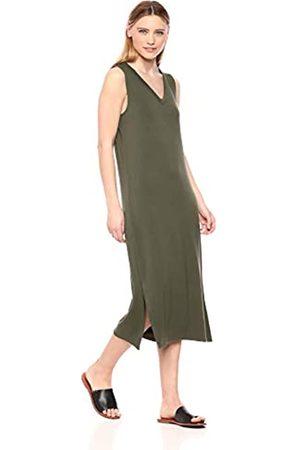 Daily Ritual Amazon-Marke: Damen superweiches Frottee-Kleid, ärmellos mit V-Ausschnitt, Olive Green