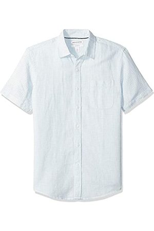 Amazon Leinenhemd Slim-Fit Kurzarm Herren Gingham-Karo
