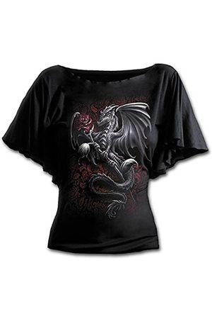 Spiral Damen Dragon Rose-Boat Neck Bat Sleeve Top T-Shirt