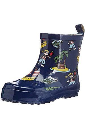 Playshoes Kinder Kurzer, Alloverdruck Halbschaft-Gummistiefel aus Naturkautschuk, trendige Unisex Regenstiefel mit Reflektoren, mit Piraten-Muster, (Marine)