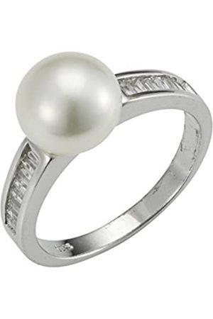 ADRIANA Damen-Ring Amore 2015 925 Silber rhodiniert Zirkonia Süßwasser-Zuchtperle Gr. 54 (17.2) - A60-Gr.54