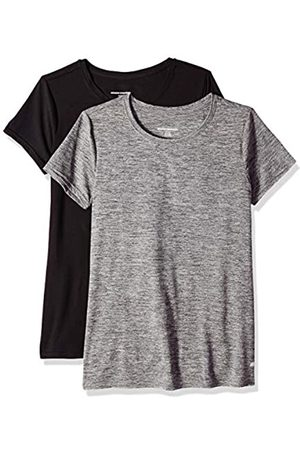 Amazon 2-Pack Tech Stretch Short-Sleeve Crew T Athletic-Shirts, Space Dye/Black
