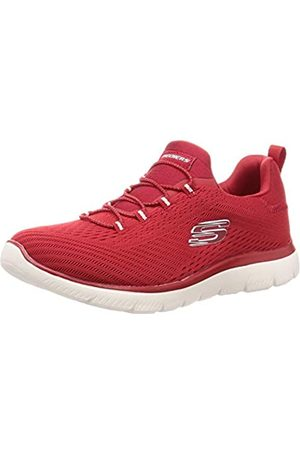 Skechers Damen Summits Fast Attraction Sneaker, (Red Mesh/White Trim RED)