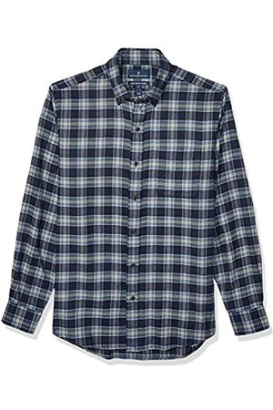 Buttoned Down Classic Fit Supima Cotton Plaid Flannel Sport button-down-shirts, Navy/Tan