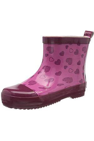 Playshoes Mädchen Naturkautschuk Halbschaft Herzchen Gummistiefel, Pink (Pink 18)