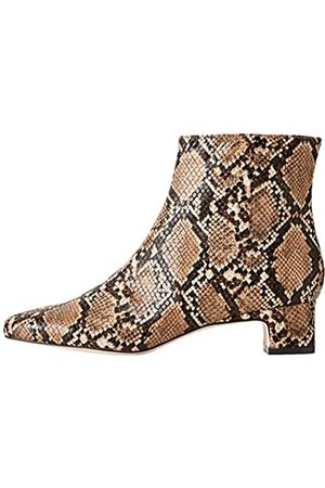 FIND Block Heel Square Toe Stiefeletten, Brown Snake)
