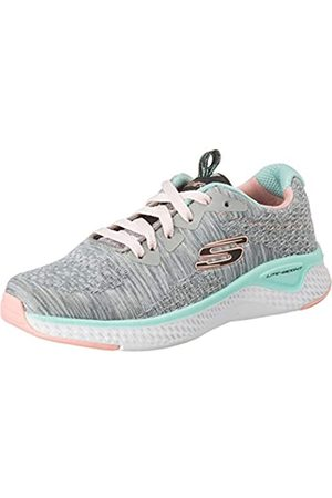 Skechers Mädchen Schuhe - Mädchen SOLAR Fuse Brisk Escape Sneaker, (Gray Knit Mesh/Black, Pink & Mint Trim GYMT)