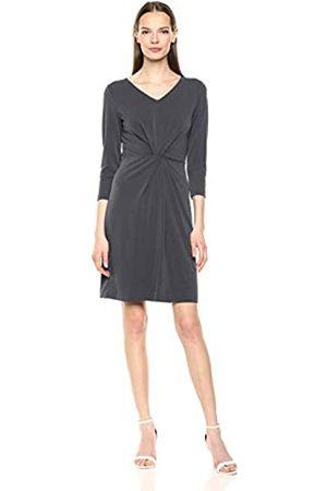 Lark & Ro Amazon-Marke: Damenkleid aus Crêpe-Strick, mit Zierknoten in der Mitte, Dreiviertelärmel