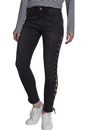 Urban classics Damen Skinny - Damen Ladies Denim Lace Up Pants Skinny Jeans