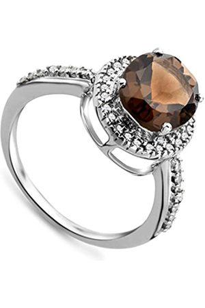 Miore Damen-Ring375WeißgoldovaleRauchtopasBrillantenGr.52(16.6)JM038R6WM