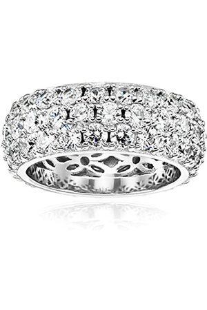 Amazon Collection Ring platiniert oder vergoldet 3-reihig Rundschliff Pavé-Fassung mit Swarovski Zirkonia