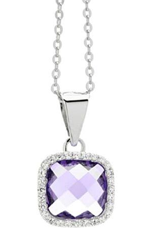 Burgmeister Damen-Halskette rhodiniert lila und weiße Zirkonia 925 Sterling Silber JHE1050-427