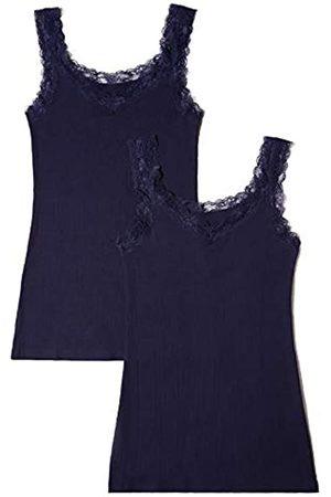 IRIS & LILLY Damen Basic Stretch Unterhemd, 2per pack (Navy Navy)