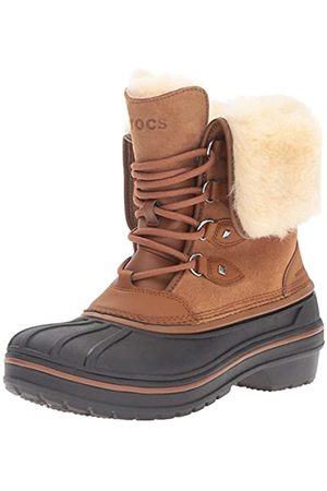 Crocs AllCast II Luxe Boot, Damen Schneestiefel, Braun (Wheat 209)