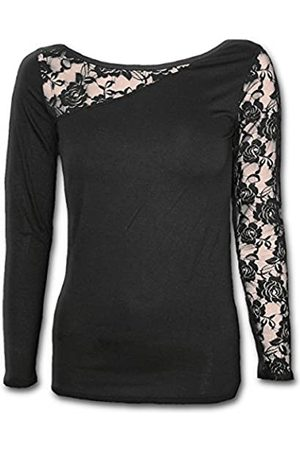 Spiral Damen Gothic Elegance-Lace One Shoulder Top Langarmshirt