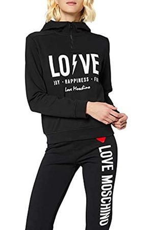 Love Moschino Damen Hooded Long Sleeve Fleece Half Zipped Logo & Flash Print_Ribbed Bottom & Cuffs Sweatshirt
